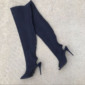 Anne Michelle Knee High Heeled Sock Boots